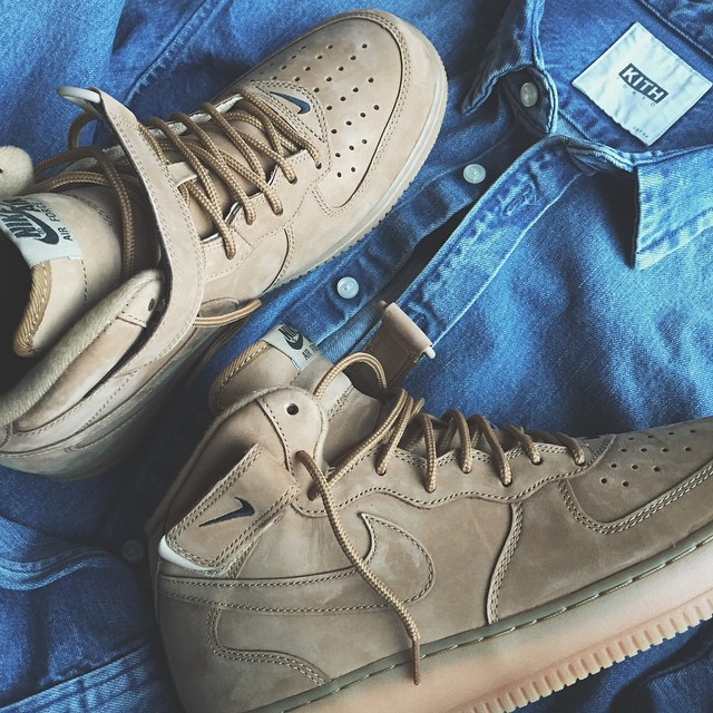 "new style 5cc53 619d3 Nike Air Force 1 Mid ""Wheat"" Color  Flax Flax-Outdoor Green Style  715889- 200. Release  11 01 2014. Price   125.00"