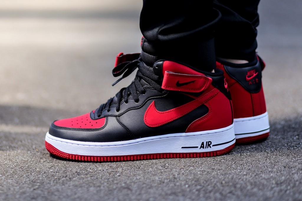 "Nike Air Force 1 Mid ""Bred"" BlackGym Red White For Sale"