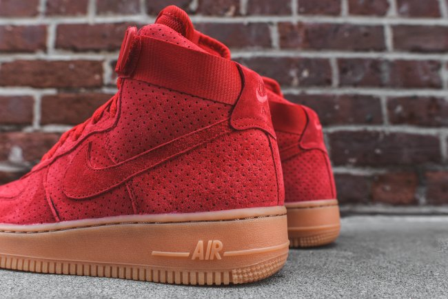 nike womens air force 1 hi university red / gum