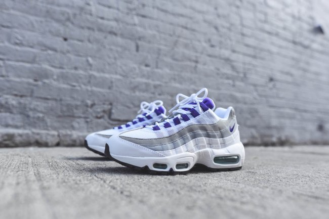 quality design 3f98f e3e9c Nike Women s Air Max 95 OG Color  White Court Purple-Emerald Green-Wolf Grey  Style  307960-101. Release Date  Fall 2015. Price   170.00