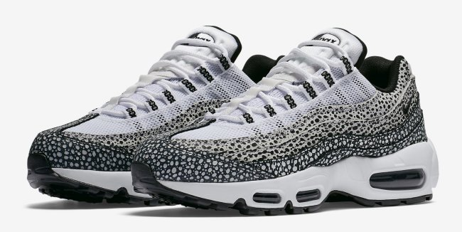 nike womens air max 95 safari white black cool grey 1med