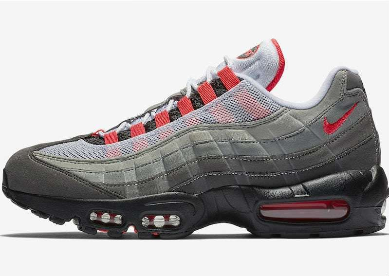 05ca75f59079 The Nike Air Max 95 Solar Red is already available in kids sizes through  scheduled to release in stores on July 19 at most stores