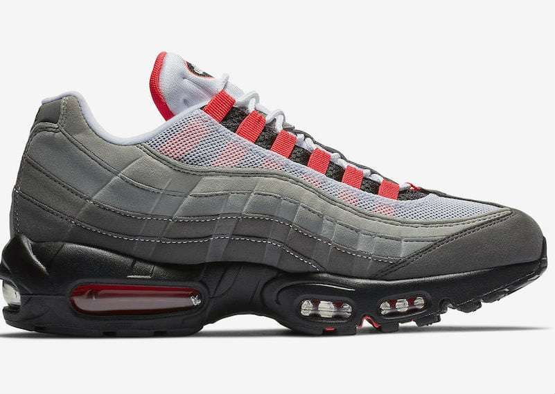 Nike Air Max 95. Color  White Solar Red-Granite Dust Style  AT2865-100.  Release Date  07 19 2018. Price   160.00 7c5caf161