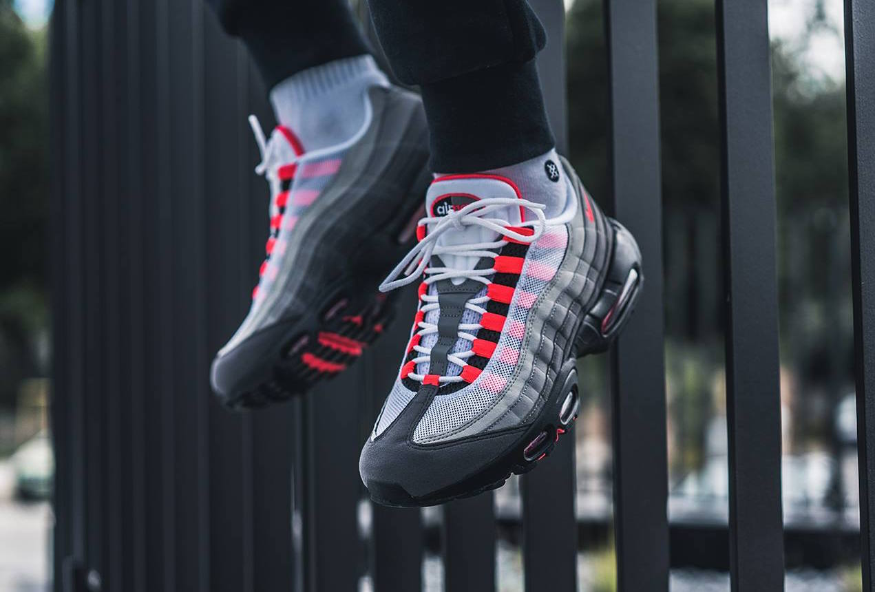 87a8b917ef Nike Air Max 95. Color: White/Solar Red-Granite Dust Style: AT2865-100. Release  Date: 07/19/2018. Price: $160.00