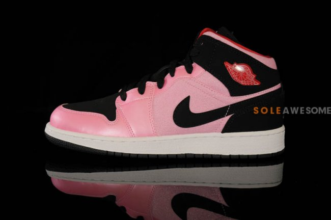 c11ee698767c1c Air Jordan 1 (I) Mid GS Color  Ion Pink Black Gym Red-White Style  555112- 608