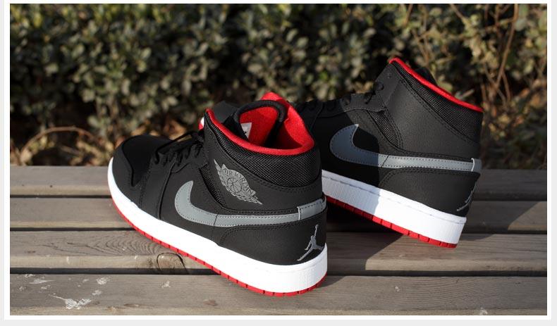 b5ac0dfa8b37 Jordan Aj 1 Mid Black Cool Grey Gym Red