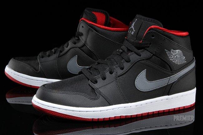 the best attitude fceee 0b92b Air Jordan 1 Retro Mid Color  Black Cool Grey-Gym Red Style  554724-004.  Price   110.00