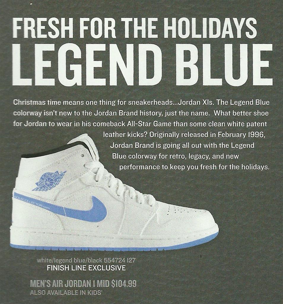 "reputable site 44516 5d71c Air Jordan 1 Retro Mid ""Legend Blue"" Finish Line Exclusive"