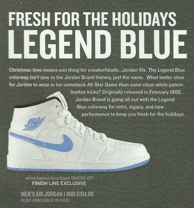 3b6b5589323b Air Jordan 1 (I) Mid Color  White Legend Blue-Black Style  554724-127.  Release  12    2014. Price   104.99