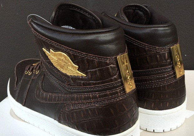 e92a9850914 705075-205 Men Air Jordan 1 Pinnacle Croc Baroque Brown Metallic Gold White