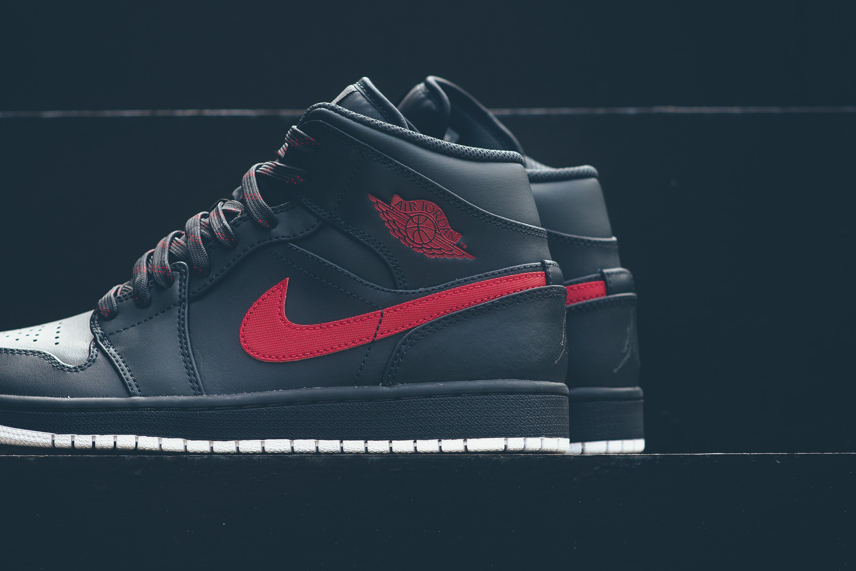 info for f787c 859e3 Air Jordan 1 Mid Color  Anthracite Gym Red-White Style Code  554724-045.  Price   110.00