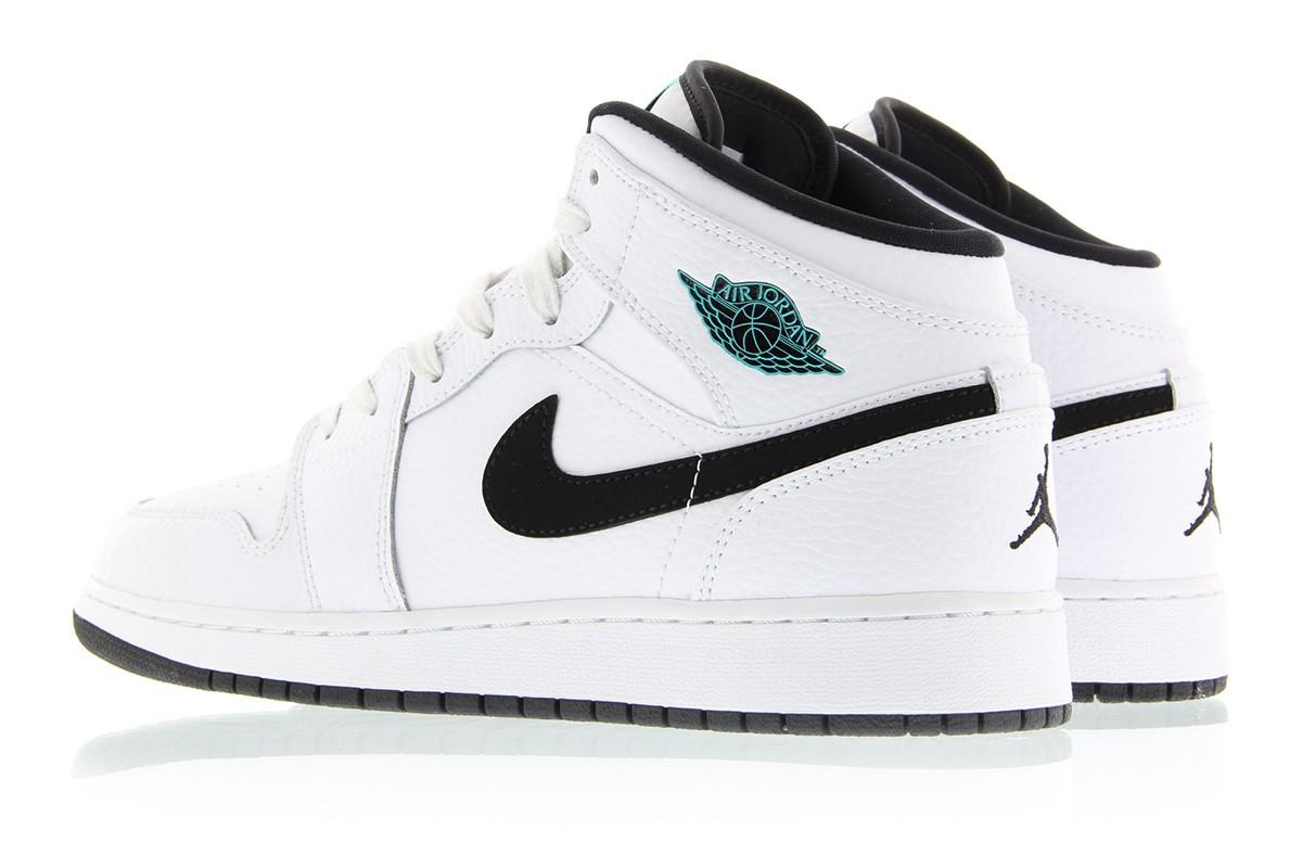 958093d0fefa72 Air Jordan 1 Mid BG Color  White Black-White-Hyper Jade Style  554725-122