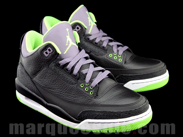 d5e3ab94071 Nike Air Jordan III 3 Retro Black Green-Purple Joker 2013 136064-018 SZ 10