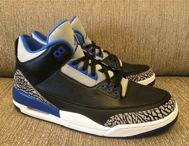 air jordan 3 black blue