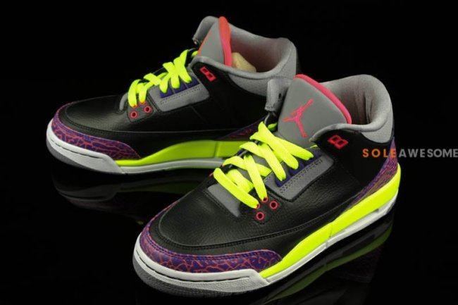 best service c51b3 02a0e Air Jordan III (3) Retro GS – Black  Purple-Volt