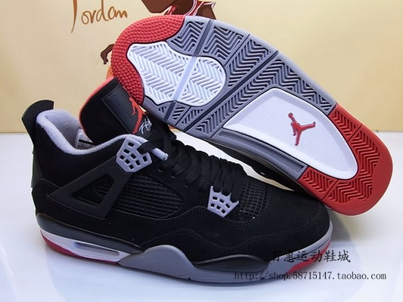 698cdbe580f355 Air Jordan IV Retro Black Red-Cement Grey