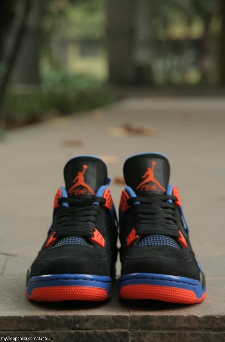 sports shoes 234a5 99b5e Nike Air Jordan IV 4 Retro CAVS Knicks Cav BLACK CEMENT ORANGE BLUE Size 8