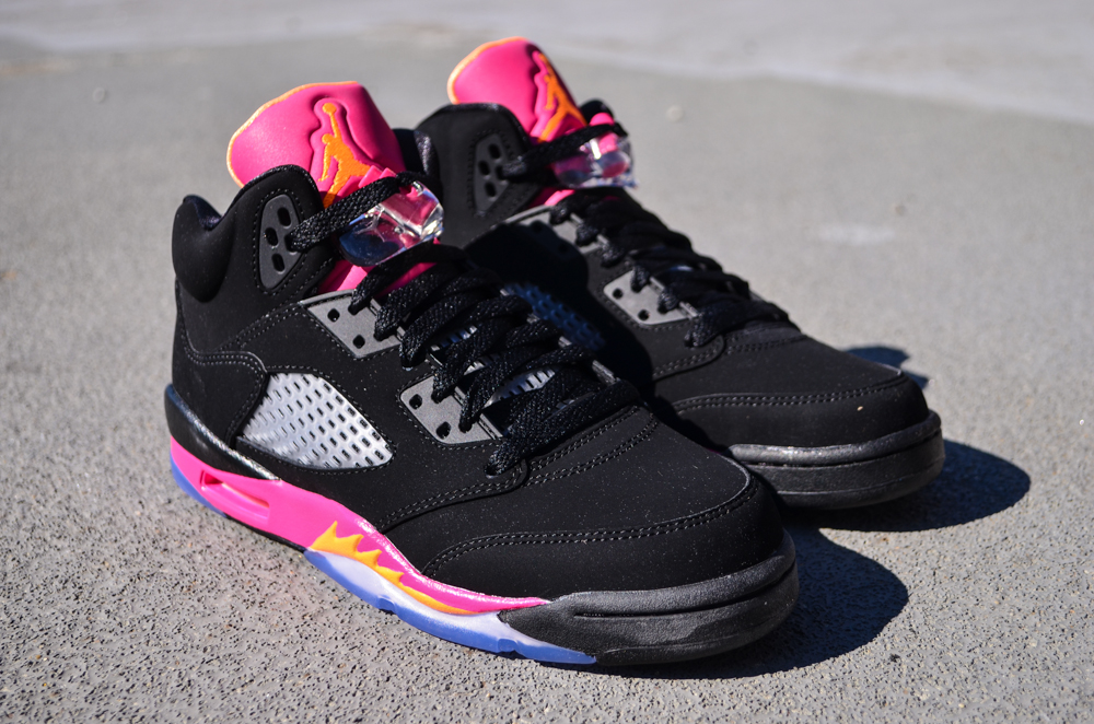 size 40 4f523 bb203 Air Jordan V (5) Retro GS - Black/ Bright Citrus-Fusion Pink ...