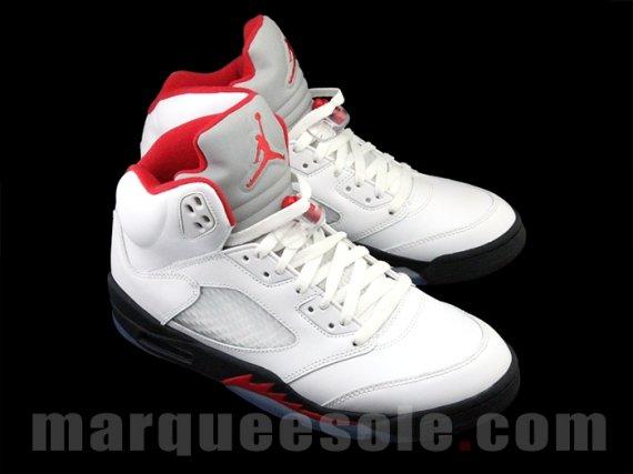 Air Jordan V Retro White/Black-Fire Red 2013