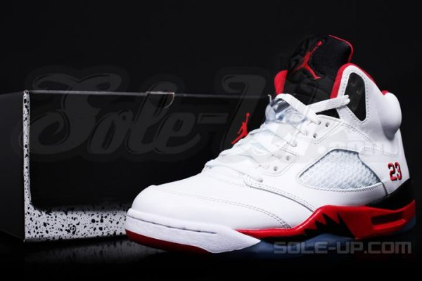 Air Jordan 5 (V) Retro Color: White/Fire Red-Black Style: 136027-120.  Release: 08/31/2013. Price: $160.00