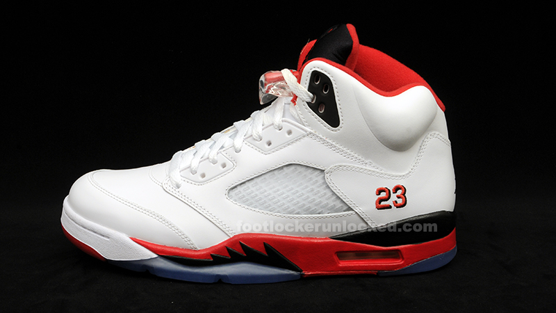 d9ef02c1b001 Air Jordan 5 (V) Retro White Fire Red-Black Release Info