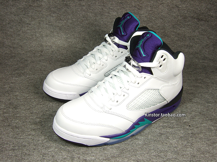 "Retro 5 Grapes Black White Air Jordan 5 Retro ""white"