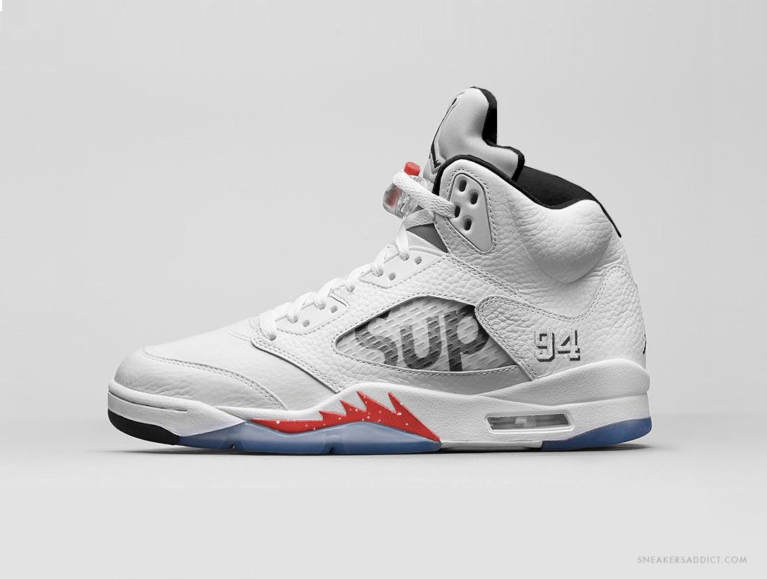 """cae859dd08ee87 Supreme x Air Jordan 5 """"White"""" - Air 23 - Air Jordan Release Dates ..."""