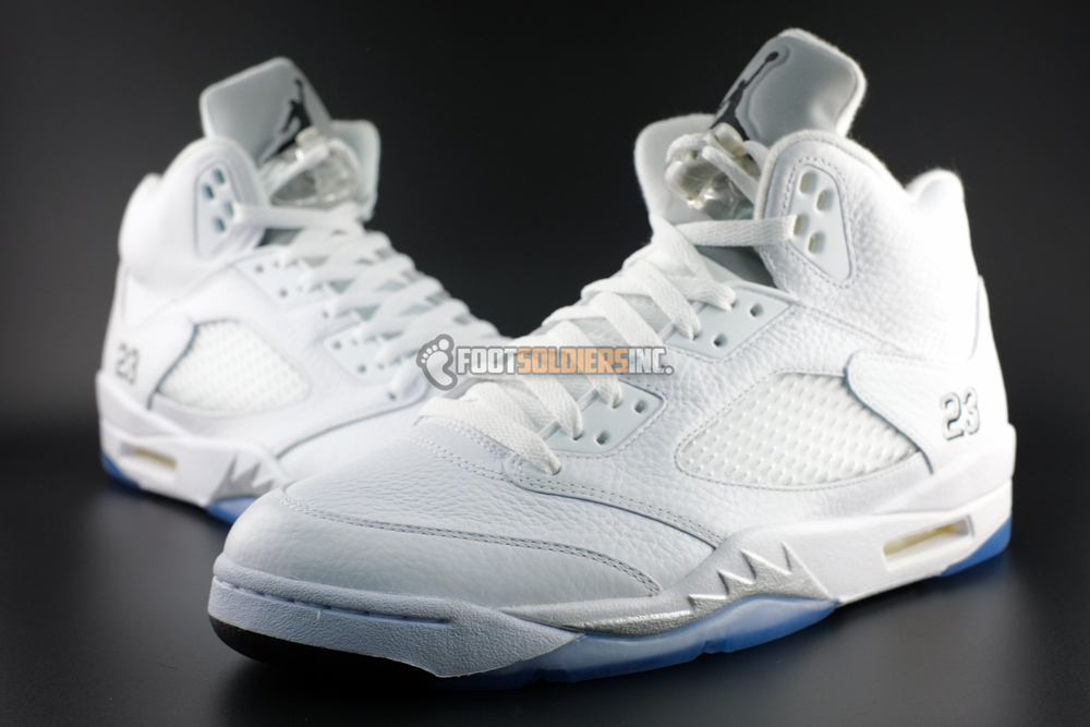 9a2429191414 Air Jordan 5 (V) Retro Color  White Metallic Silver-Black Style   136027-130. Release  04 04 2015. Price   190.00