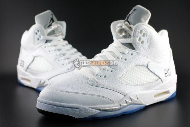 481b29e9f781 Air Jordan 5 (V) Retro Color  White Metallic Silver-Black Style   136027-130. Release  04 04 2015. Price   190.00