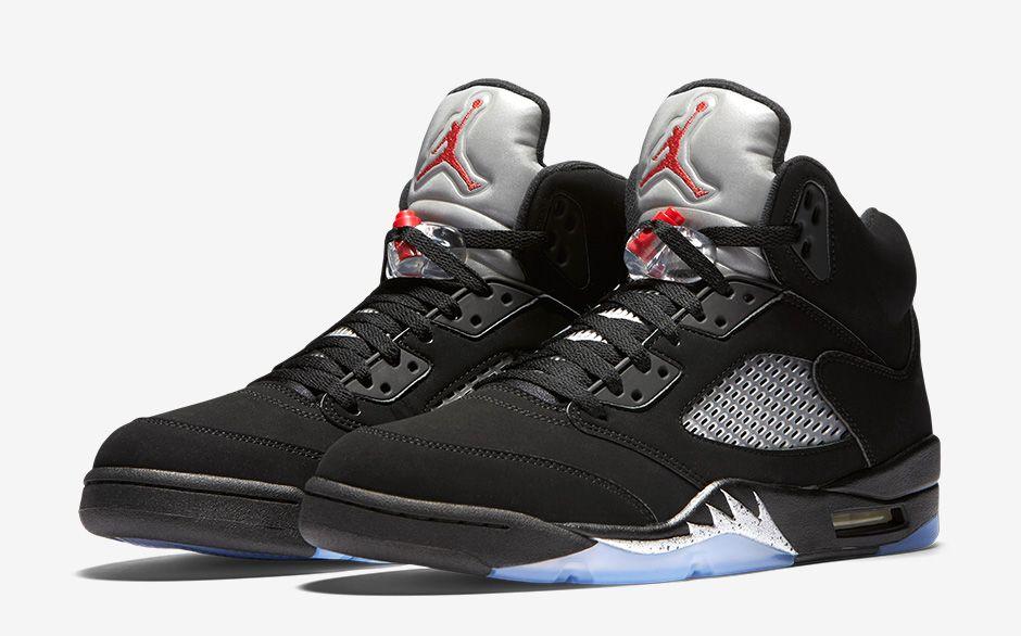 2016 Nike Air Jordan 5 V Retro Black Metallic Silver Size 9.5