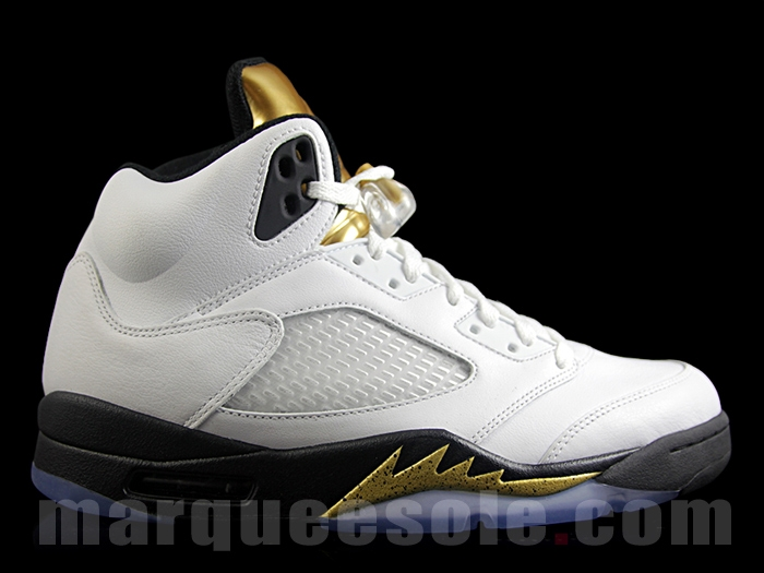 93a9da6fcfbf32 air jordan 5 retro olympic. Air Jordan 5 (V) Retro Color  White Black-Metallic  Gold Coin