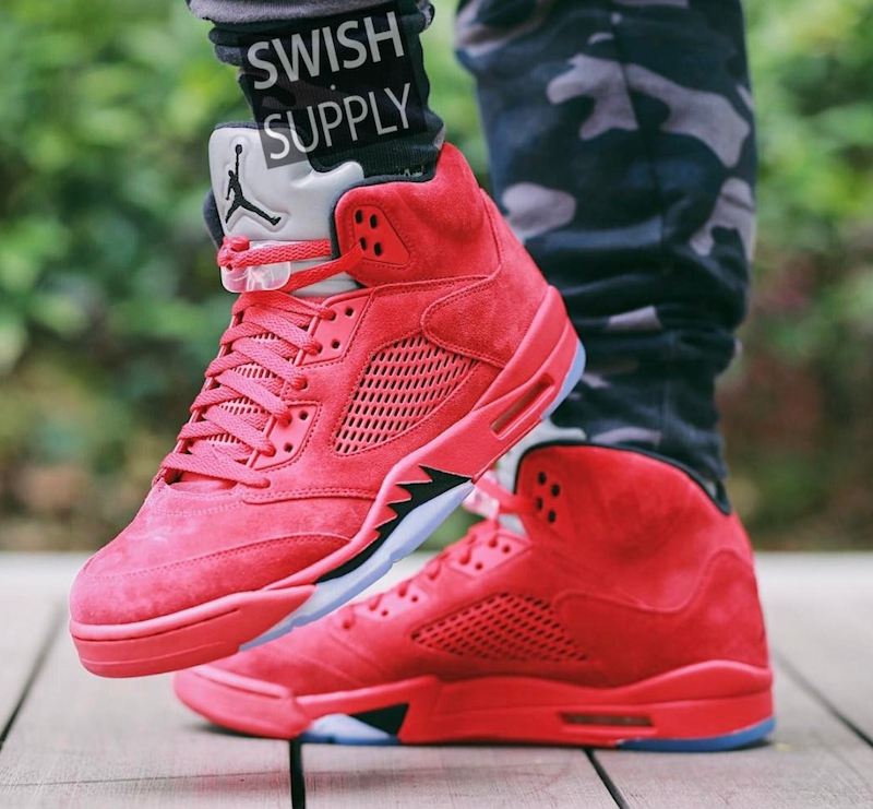 air jordan 5 red suede men