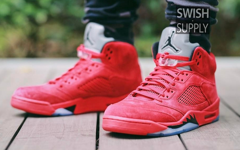 7b1875b0345190 Air Jordan 5 Red Suede On-Feet Images - Air 23 - Air Jordan Release ...