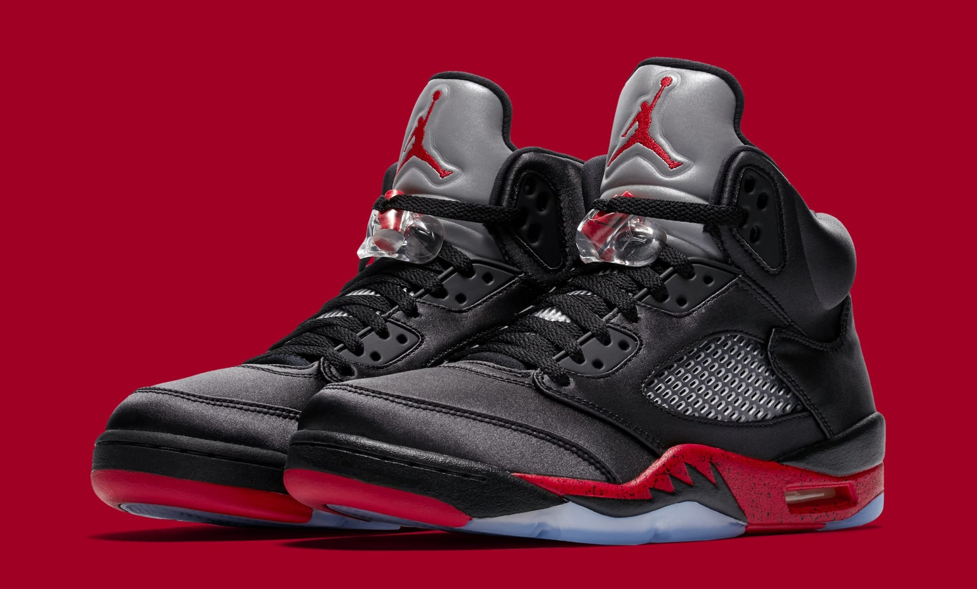 a75429ffcbb air jordan 5 bred. Featuring full leather construction, the Black/University  Red ...