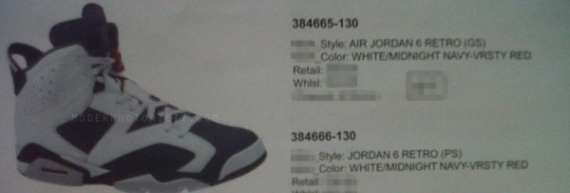55c3cbc2f3ce Air Jordan 6 (VI) Retro Color  White Midnight Navy-Varsity Red Style   384665-130. Release  Fall 2012
