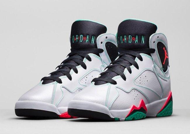f1cb513a028 Girl's Air Jordan 7 (VII) Retro Color: White/Black/Verde/Infrared 23.  Style: 705417-138. Release: 03/14/2015. Price: $140.00
