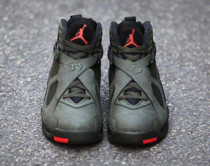 ff9cea8cd557 The combination of Sequoia and Wolf Grey leaves the Air Jordan 8 Take Flight  with a neutral color palette
