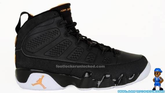 buy popular 3115f 26182 ... Black White-Citrus Air Jordan IXs. An all-new colorway, this pair has a  mostly black upper, followed by a white outsole and citrus yellow accents.