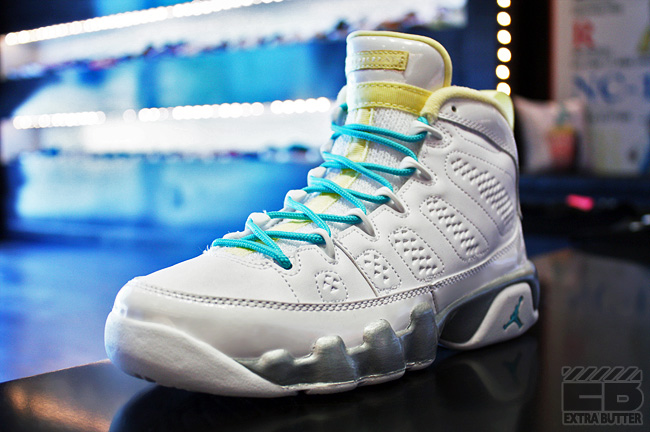 best service f96a8 31582 Air Jordan IX Retro GS White Turquoise-Lemon