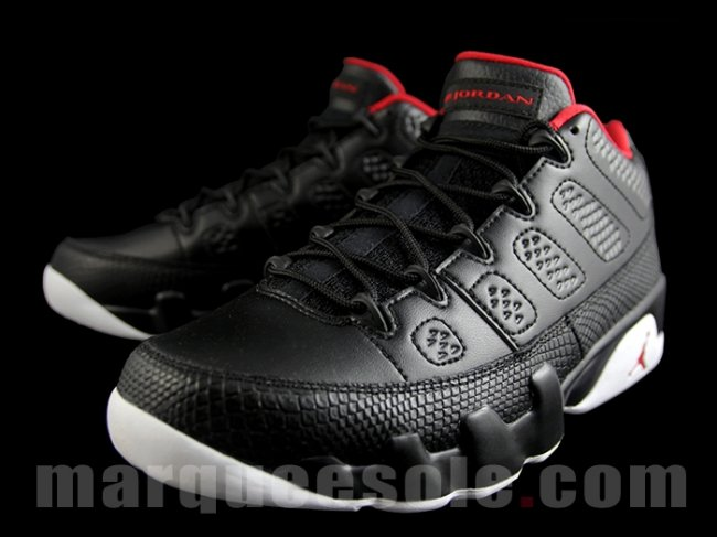 air jordan 9 low black /white-gym red