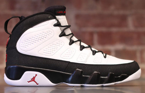 air jordan 9 retro white / black-true red