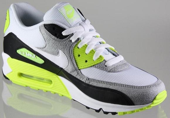 Nike Air Max 90 325018-048 White Volt Grey Black Mens DS 2012