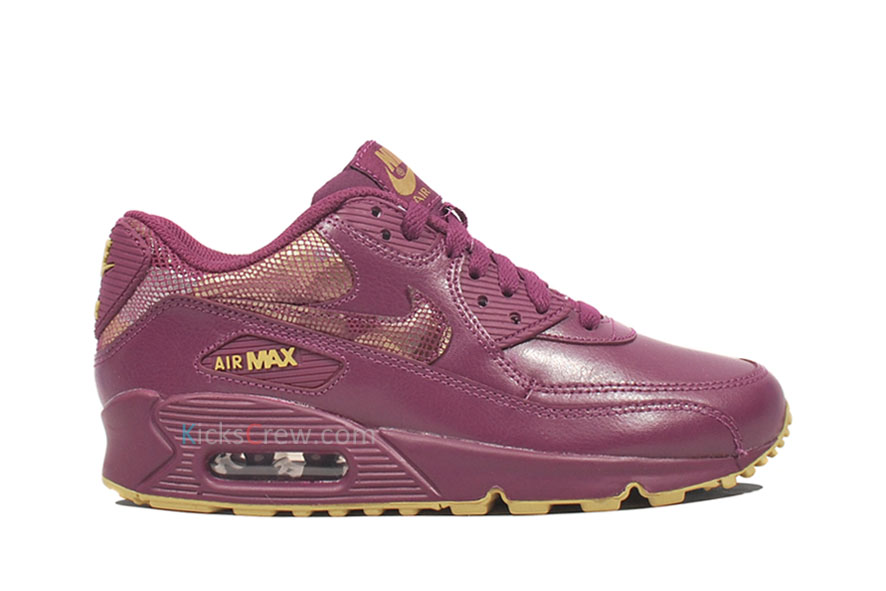 new style 4bd6c 79df6 Nike Womens Air Max 90 Mulberry/Mulberry-Jersey Gold