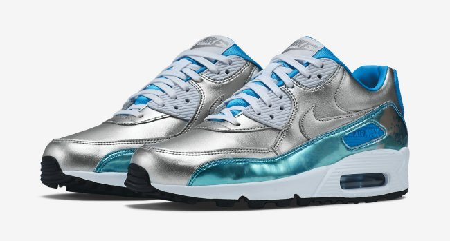 competitive price f21c7 eda16 Nike Air Max 90 Premium Color  Metallic Silver Clearwater-Light Blue  Lacquer-White Style  744596-002. Price   120.00. nike air max 90 PRM QS  womens running ...