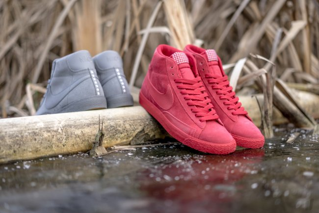 nike blazer triple grey and triple red