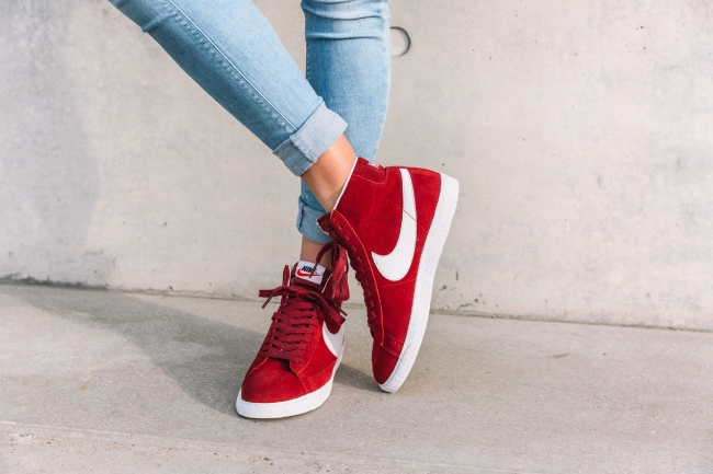 nike womens blazer suede team red