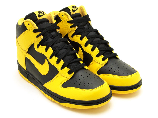 nike dunks high yellow and black