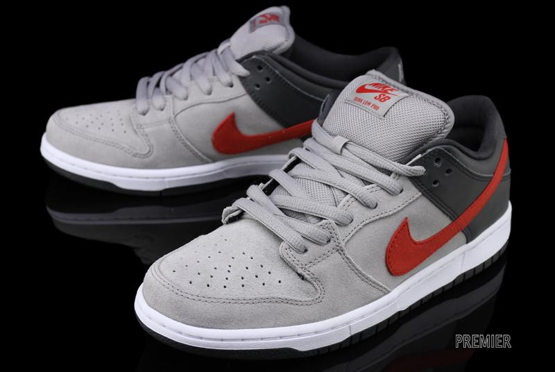 designer fashion b34b5 51cd1 Nike Dunk Low Pro SB - Medium Grey/Anthracite-University Red