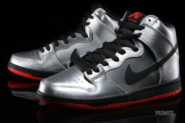 Nike Dunk High Pro SB Color: Metallic Silver/Challenge Red-Black Style:  305050-027. Price: $100.00