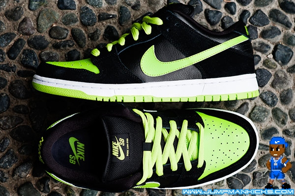 size 40 0867e 21fd2 USED NIKE DUNK LOW PRO SB NEON J PACK BLACK CHARTREUSE SIZE 5.5